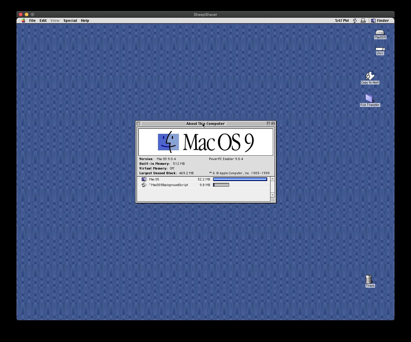 Mac OS 9 on macOS 10.15